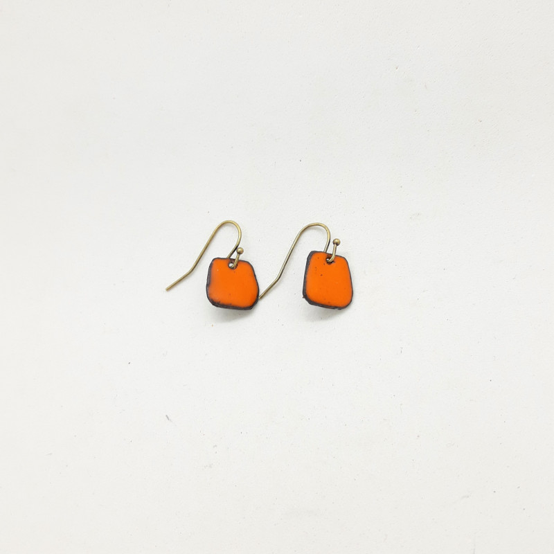 Boucles d'oreilles carrées orange
