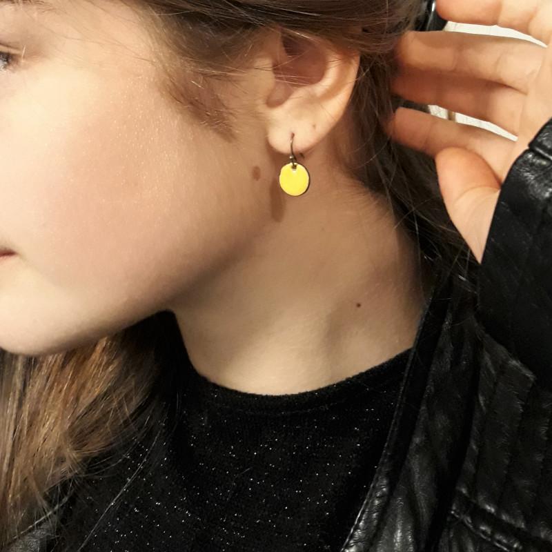 Boucles d'oreilles rondes 1 jaune