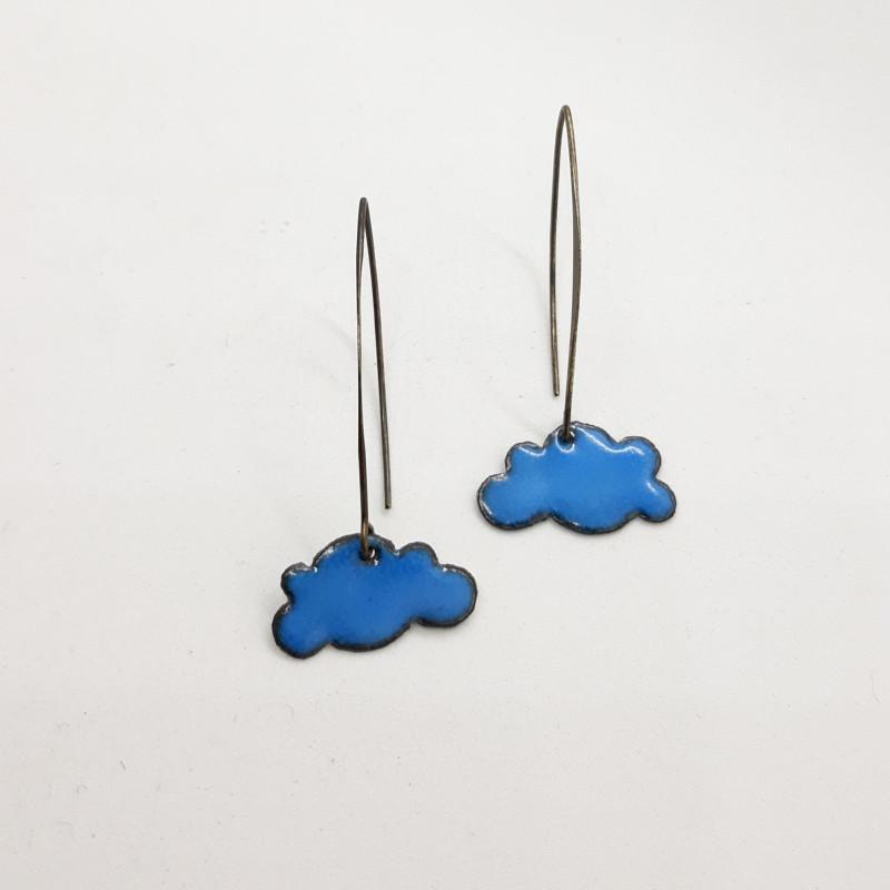Boucles d'oreilles nuages bleus