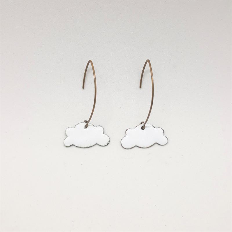 Boucles d'oreilles nuages blancs